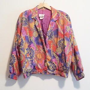Vintage light jacket tribal Aztec multicolour pink